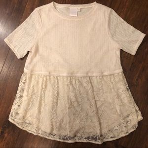Lauren Conrad Knit and Lace Top T73